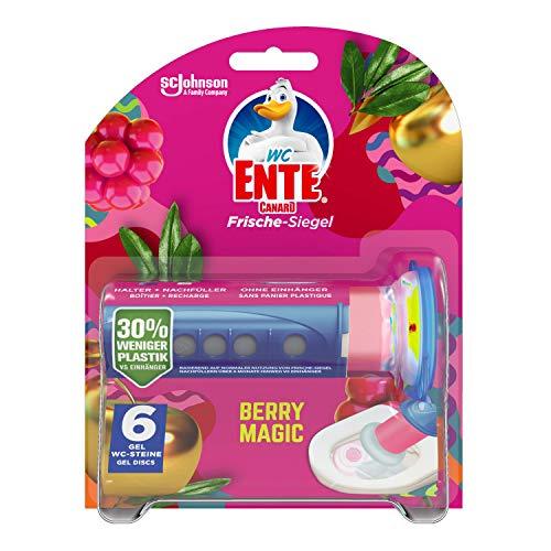WC-Ente Kit de inicio de sellado de frescura (incluye 1 recambio), limpiador sin cesta, aroma Berry Magic, 6 unidades (6 x 36 ml)