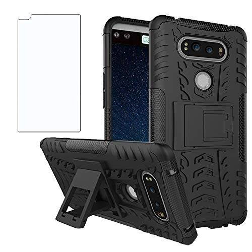 Phone Case for LG V20 with Tempered Glass Screen Protector Cover and Stand Kickstand Hard Rugged Hybrid Protective Cell Accessories LGV20 LG20 V 20 Cases Shockproof Boys Women Girls Kids Men Black