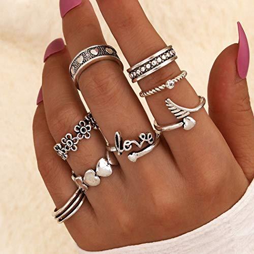 Flrora Boho Flower Finger Ring Silver Heart Love Joint Finger Ring Set di anelli ad ala impilabili alla moda, accessori per donne e ragazze (8 pezzi)