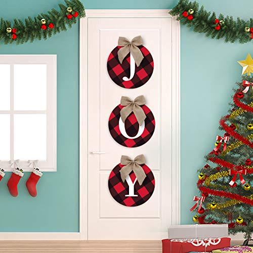 Christmas Door Hanger JOY Sign Hanging Buffalo Plaid Christmas Wreath for Front Door Decorations Joy Signs Christmas Black and Red Buffalo Wreath Outdoor Decor for Xmas Holiday Party Supplies
