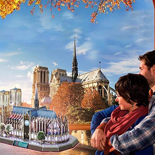 Modelo 3D Puzzle Iluminación LED Edificio Notre Dame de Paris Arquitectura Modelo Conjunto