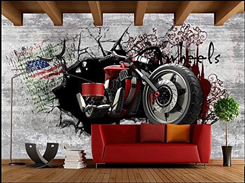 3D-Tapete Benutzerdefiniertes Foto Europäische Retro Nostalgische 3D Gebrochene Wand Motorrad Wohnzimmer 3D-Wandbilder Tapete Für Wände 3 D W:120Cm×H:80Cm