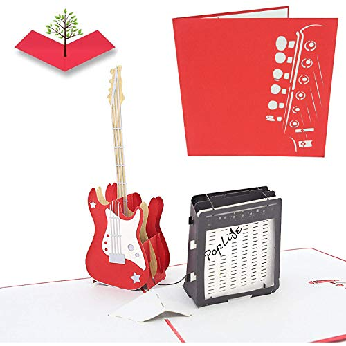 PopLife Guitar 3D Father's Day Pop Up Card - Musician Birthday Card, Retirement Party, Teacher Gift from Student, Rock Band Present, Music School Graduation, Bass Player, Concert Surprise
