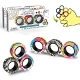 Magnetic Rings Fidget Toy Set, Idea ADHD Fidget Toys, Adult Fidget Magnets Spinner Rings for Anxiety Relief Autism Therapy, Fidget Pack Great Gift for Adults Teens Kids (6PCS)