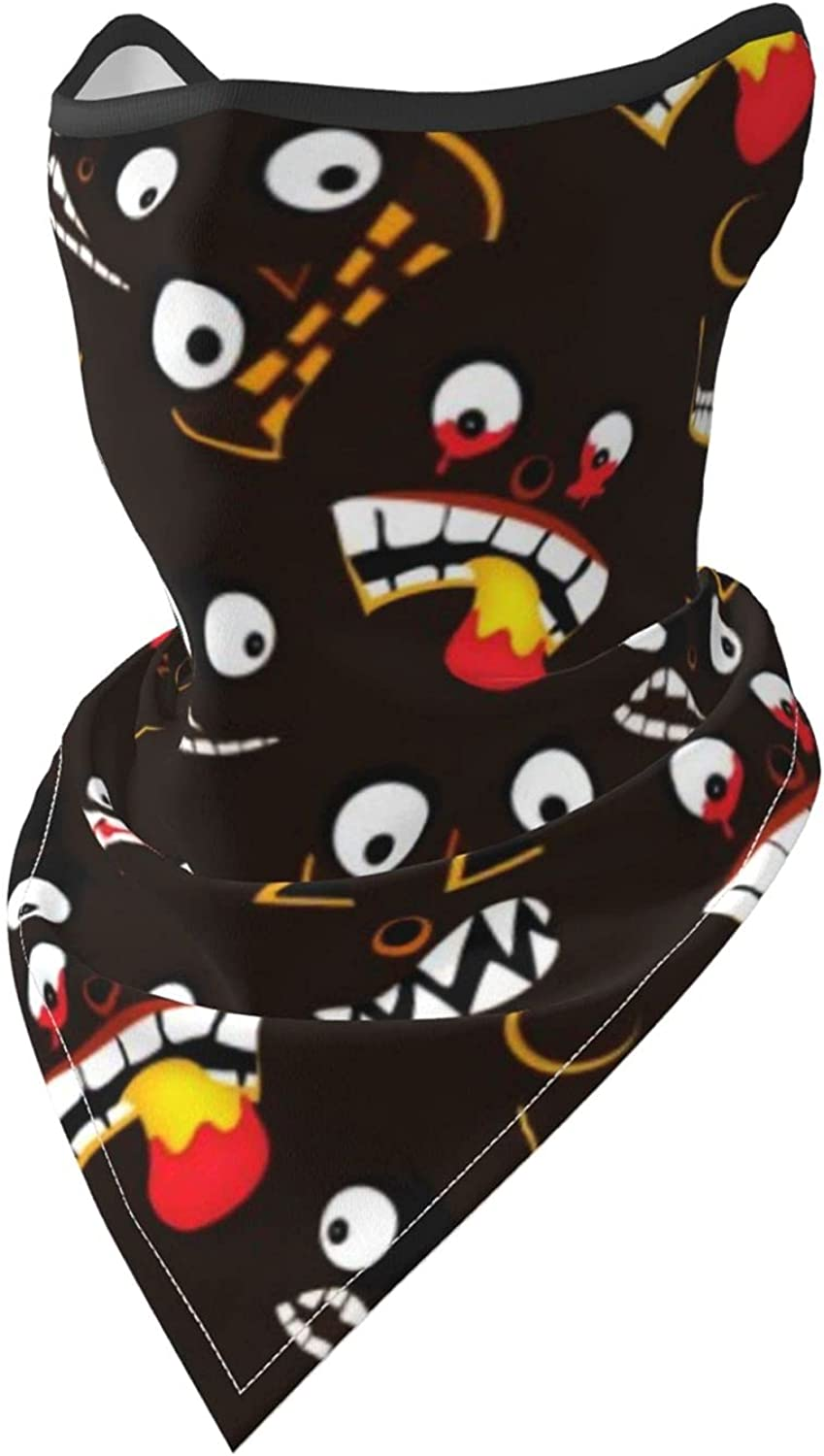 Ghost Faces Halloween Seamless Pattern Breathable Bandana Face Mask Neck Gaiter Windproof Sports Mask Scarf Headwear for Men Women Outdoor Hiking Cycling Running Motorcycling