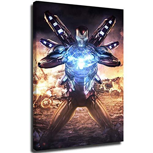 Megiri Print Art Decor Superhéroe, Iron Man Avengers, pintura abstracta, decoración de pared para recámara, decoración de pared de 61 x 91 cm, enmarcado