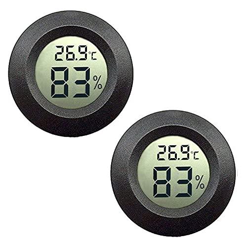 JEDEW Hygrometer Thermometer Digital LCD-Monitor für Keller Feuchtigkeits-Messgerät, für Luftentfeuchter der humidifiers babyroom Gewächshaus Zigarre (schwarz-2 Pack)