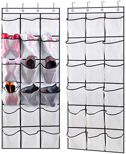 AOODA 2 Pack Over The Door Shoe Rack Hanging Shoe Organizer with 18 Extra Large Clear Mesh Pockets Shoe Holder Storage Hanger for Closet Door White