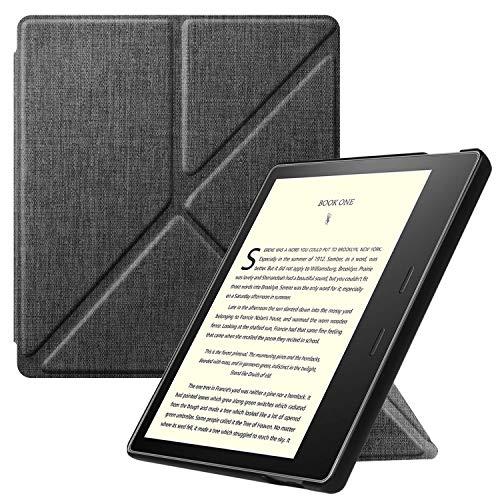 FINTIE Origami Funda para Kindle Oasis 2019 (10.ª Generación)/2017 (9.ª Generación) - Slim Fit Carcasa Vertical con Función de Auto-Reposo/Activación, Gris Marengo