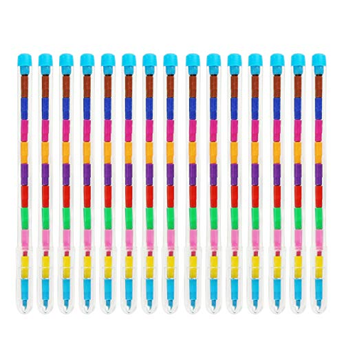 THE TWIDDLERS 36 PCS Stacking Crayons | 11 Different Colors | Kids Arts and Crafts Supplies for Coloring and Drawing | Party Favors, Classroom Reward & Prizes