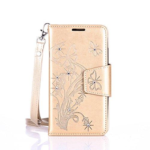 lenovo A2010 Hülle Coozon Flip Hülle mit lebenslanger Garantie Kartenfächern & Standfunktion Cover Wallet fürlenovo A2010 (4,5 Zoll) Schmetterling Golden