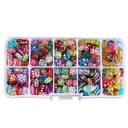 320 unids / caja Kit de cuentas de acrílico de plástico colores mezclados espaciador cuentas para niños con caja para niños juguetes para niñas DIY pulsera fabricación de joyas