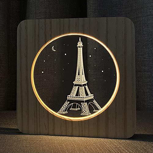 FS-A2821-02W Torre Eiffel Forma USB Lámpara de Mesa de Madera Maciza LED de la luz de la Noche.