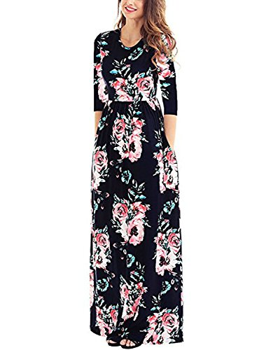 Dearlovers Women Floral Printed Round Neck Fall Maxi Casual Dress XXL Size Black