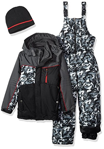 iXtreme Boys' Little Camo Print Snowsuit W/2fer Vestee Detail, Black, 6