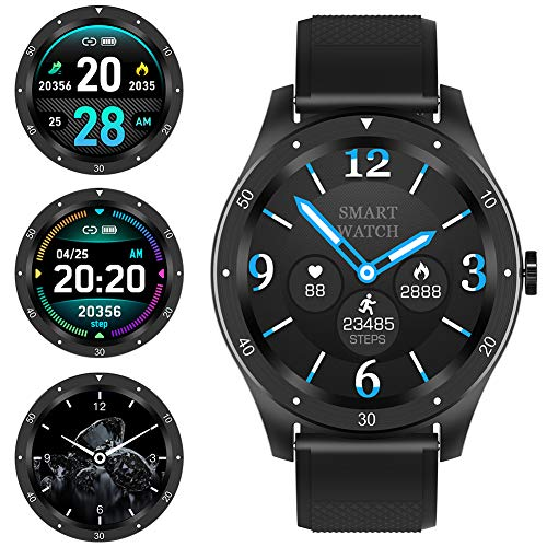 Smart Watch 1.3 inch Full Touch Screen Heart Rate Monitor Fitness Tracker with Sleep Monitor Stopwatch Pedometer Calorie Distance Sport Watch for Men Compatible with Android & iOS