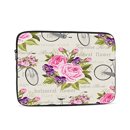 Laptop Sleeve Bag Pink Rose Gray Bicycle With Flowers Portable Zipper Tablet Cover Bag Notebook Computer Protective Bag,Black