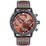 TCEPFS Neue Fliegeruhr Sport Herrenuhr Luxusmarke Quarz Herrenarmbanduhren Leder Kreative Männliche Uhr Relogio Masculinobraun-braun