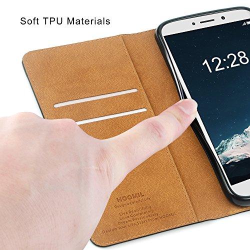 HOOMIL Handyhülle für Huawei Honor 6X Hülle, Premium Leder Flip Schutzhülle für Huawei Honor 6X Tasche, Schwarz - 6