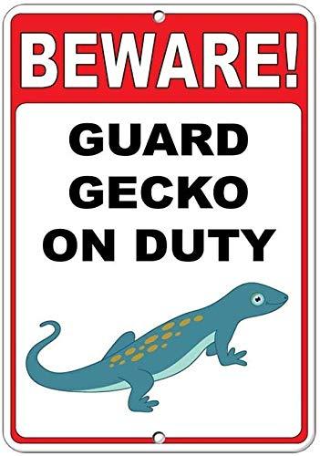 Beware! Guard Gecko On Duty 8 x 12 aspecto vintage 20 x 30 cm decoración de metal letrero para manualidades para el hogar, cocina, baño, granja, jardín, garaje, citas inspiradoras, decoración de pared