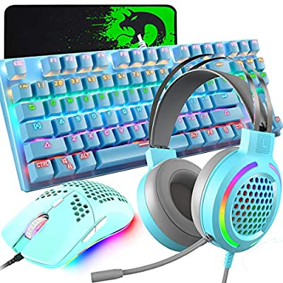 Mechanical Gaming Keyboard, Lightweight 3.5mm Jack Gaming Headset with Mic, Programmable 6400DPI Honeycomb Coal Wired Game Mouse, Mice Pad (Blue) by LexonElec