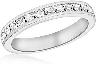 Tuscany 纯银白水晶永恒堆叠戒指