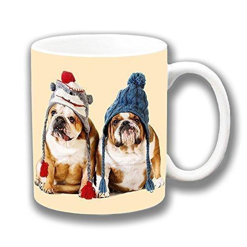 Bulldog Inglese Wooly Cuccioli Cappelli Ceramica Tazza Di Caffè Regalo Di Natale Regalino