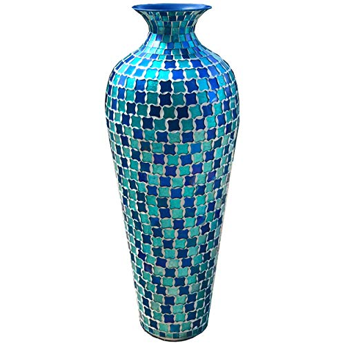 DecorShore Bella Palacio Collection Decorative Mosaic Vase - Tall 20 in. x 6 in. Home Decor Geometric Pattern Metal Floor Vase with Glass Mosaic in Blue & Turquoise Tessellation Pattern