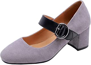 BalaMasa Womens APL11824 Imitated Suede Mary Jane Heels