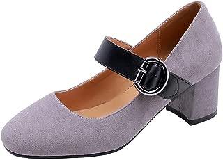 BalaMasa Womens APL11824 Imitated Suede Mary Jane Heels