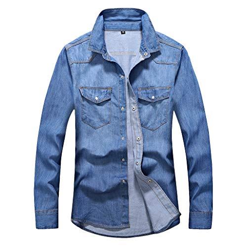 KPILP Herren Jeansjacke Biker Style Stretch Destroyed Look Basic Mäntel Herbstjacke Winter Mantel Langarm Hoodie Outwear Shirts Denim Jacke mit Taschen