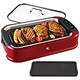 KCZAZY Electric Smokeless Grill, Indoor and Outdoor Use, Grill and Griddle Plates Removable, Portable BBQ Grilling & Searing, Dishwasher Safe, Included Cookbook