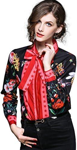 Women s Paisley Print Tie Neck Shirt Regular Fit Long Sleeve Blouse Tops Black product image