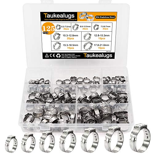 125Pcs 304 Stainless Steel Single Ear Hose Clamps 7 Sizes 6-21mm for Securing Pipe Hoses and Automotive Use