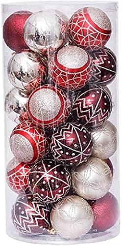 JYHZ Decoraciones navideñas, 30 Piezas de Bolas de árbol de Navidad, Pintura a Prueba de roturas de Bolas Luminosas, decoración de Fiesta de Bodas de Vacaciones