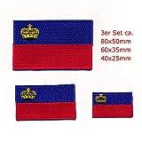 3 Fürstentum Liechtenstein EU Vaduz Flaggen Flags Aufnäher Aufbügler Set 1005