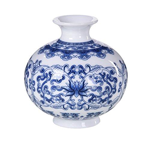 HLJS Jarrón de cerámica china blanca con flores azules y b