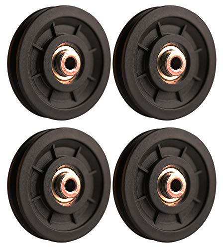 LFJ 90mm Poleas Gimnasio, Polea de Rodamiento Universal, Cable Redondo Polea Rueda para Fitness Equipo, Parte de Puerta de Garaje (4Pcs)