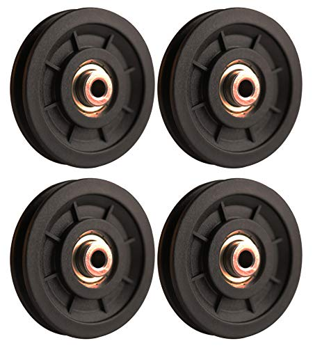 LFJ 90mm/3.5' Nylon Bearing Pulley Wheel Replace for Gym Equipment Part Cable Merchine (4 PCS)