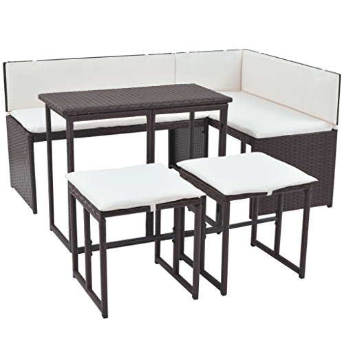 vidaXL Gartenmöbel 5-TLG. Poly Rattan Braun Sofa Sitzgruppe Gartenset Lounge