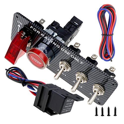 BIYM - Interruptor de Encendido para Coche, 12 V, 30 A, 5 en 1, Panel de Fibra de Carbono, Motor de Encendido, botón pulsador, Interruptor de balancín
