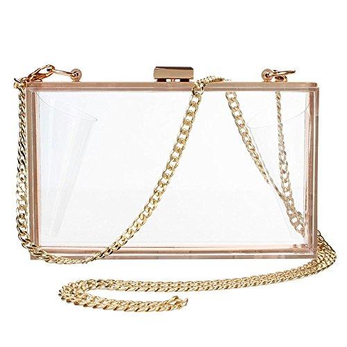 Bolso de mano de acrílico transparente para mujer, Transparente (Transparente), Talla única