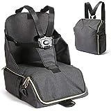 BeeViuc Trona de viaje Mesa Asiento de mesa para bebé, Plegable Trona de Viaje Arnés de 5 puntos - Negro
