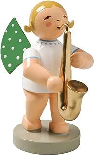 Wendt & Kuhn Blonde Hand Painted Grunhainichen Angel Saxophone Figurine