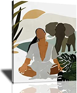 Sunator African American Canvas Wall Art Black Girl And Elephant Poster For Prints Giclee Modern Minimalist Woman Artwork Framed Decorations Bedroom Living Room Ready To Hang 12x16 Inches