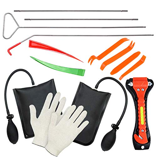11-Piece Professional Vehicle Emergency Car Tool Set - Long Reach Grabber Tool with 2 Air Pump, 6 PCS Pry Tool Kit, Working Gloves and Car Hummer