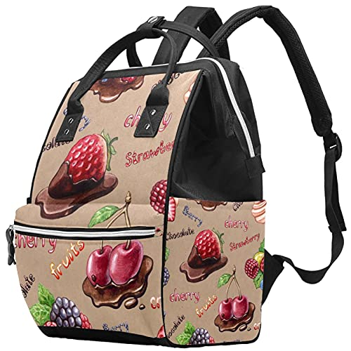 Yuelai Windel Tasche Rucksack Laptop Rucksack Travel Daypack für Damen, süßes Erdbeer-Frucht-Schoko-Muster