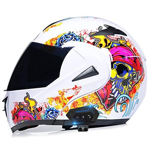Bluetooth Integrado Casco De Moto Modular Con Doble Visera Cascos De Motocicleta Abierto Homologado ECE Casco Moto Integral Para Adultos Mujeres,Diseño De Calavera F,M