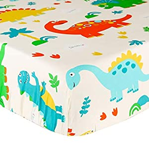 crib bedding and baby bedding crib sheet uomny 100% cotton fitted crib sheets baby sheet for standard crib and toddler mattresses nursery bedding sheet crib mattress sheets for boys and girls1 pack dinosaur toddler sheet