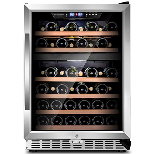"""Sinoartizan ST-54D 24"""" Wide 48 bottles Dual zone Red and White Wine cooler/Built-in or Freestanding Wine refrigerator with Energy Efficient & Quiet Compressor"""